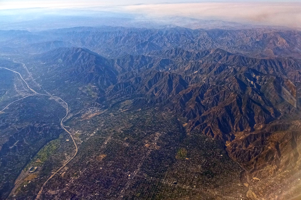 City meets the mountains. Rose Bowl lower left.