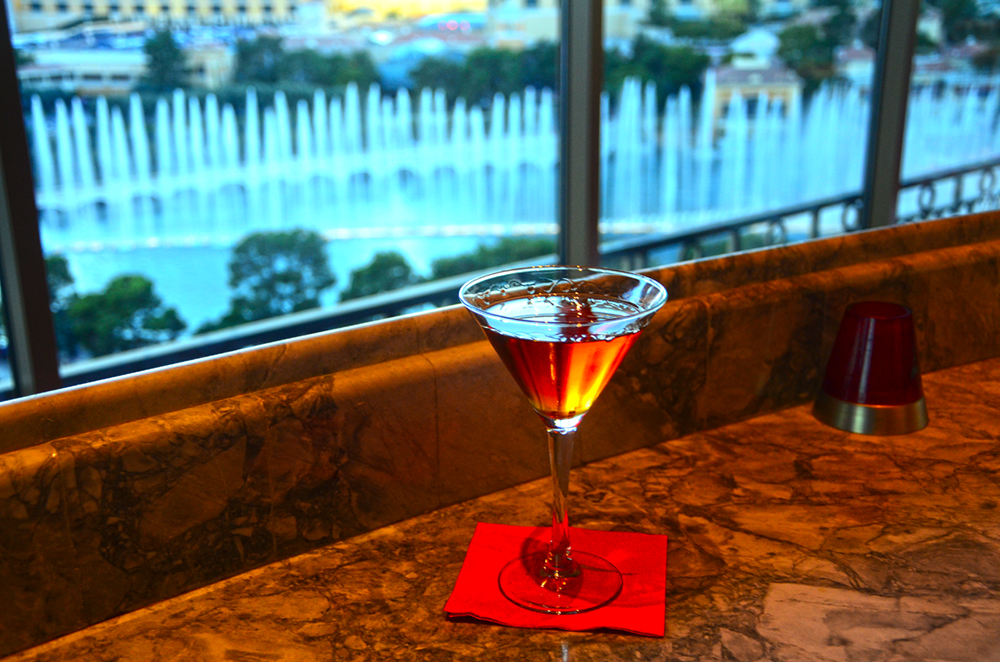 Bellagio Fountain from Eiffel Tower Bar (not the real one)