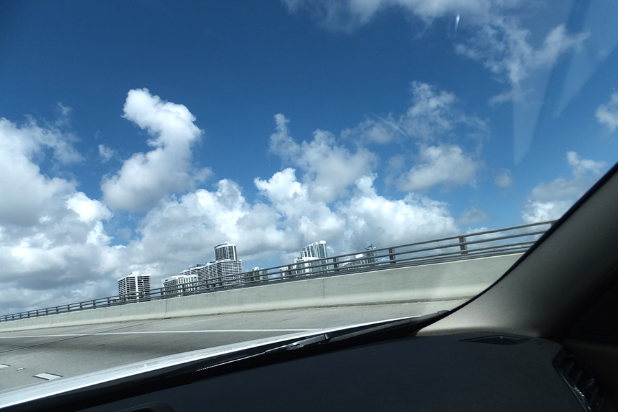 Glimpsing the Miami Skyline from the rental car.